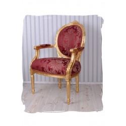 Semifotoliu din lemn masiv auriu antichizat cu tapiterie din matase rosie