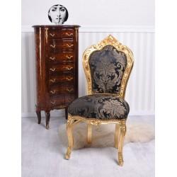 Scaun baroc din lemn auriu cu tapiterie din matase albastra