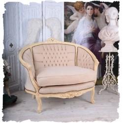 Sofa  din lemn masiv alb antichizat si tapiterie din catifea grej