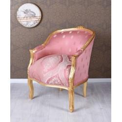 Fotoliu din lemn masiv auriu cu tapiterie din matase roz cu flori