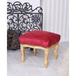 Scaunel din lemn masiv auriu cu tapiterie din catifea rosie