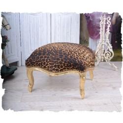 Scaunel din lemn masiv auriu cu tapiterie leopard