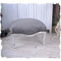 Scaunel din lemn masiv argintiu cu tapiterie gri