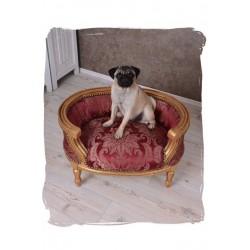 Canapea pentru caine din lemn masiv auriu cu tapiterie rosie