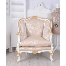 Sofa din lemn masiv alb cu tapiterie din matase grej cu flori