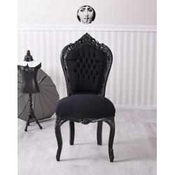 Scaun baroc din lemn masiv negru cu tapiterie din catifea neagra