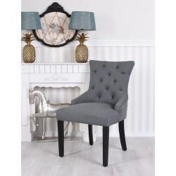 Scaun din lemn masiv cu picioare negre si tapiterie gri inchis