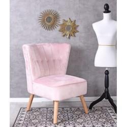 Fotoliu din lemn masiv cu picioare bej si tapiterie roz