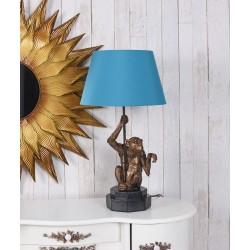 Lampa de masa cu maimuta si abajur albastru