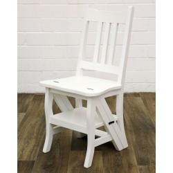 Scaun scara din lemn masiv alb