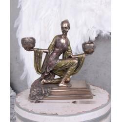 Sfesnic Art Nouveau din ceramica cu bronz cu doua locuri
