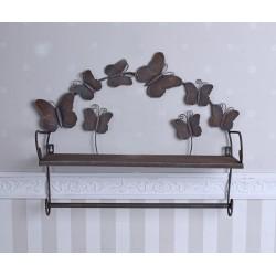Cuier de perete antik brown cu fluturasi