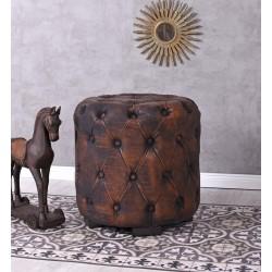 Otoman oval din lemn masiv cu tapiterie maro