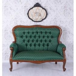 Sofa Empire din lemn mahon cu tapiterie din matase verde