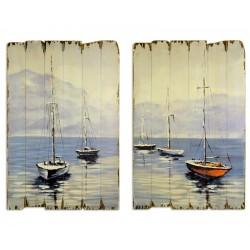 Set doua tablouri din lemn cu vapoare
