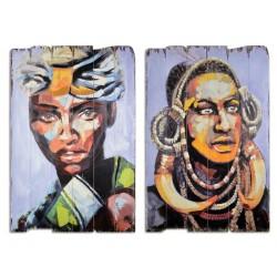 Set doua tablouri din lemn cu africani