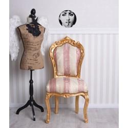Scaun din lemn masiv auriu si tapiterie roz cu crem