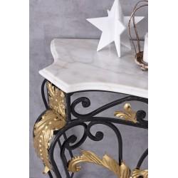 Consola din fier masiv cu decoratiuni aurii si blat din marmura