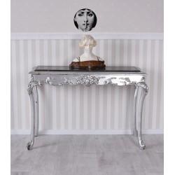 Consola din lemn masiv argintiu cu blat din marmura