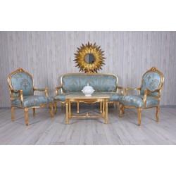 Set baroc din lemn masiv auriu cu tapiterie din matase bleu