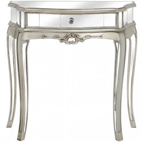 Consola din lemn masiv argintiu cu oglinda