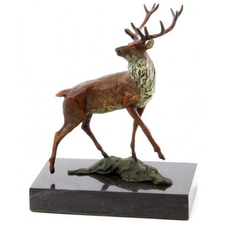 Cerb- statueta dn bronz pe soclu din marmura