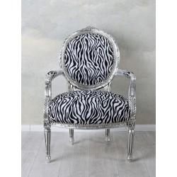 Semifotoliu din lemn masiv argintiu cu tapiterie zebra