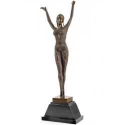 Dansatoare Art Deco - statueta din bronz pe soclu din marmura