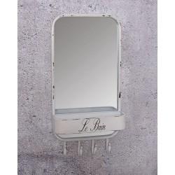 Oglinda de baie din metal alb cu suporturi de prosoape