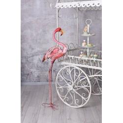 Pasare Flamingo din metal vopsit roz pentru gradina