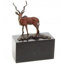 Antilopa - statueta din bronz pe soclu din marmura