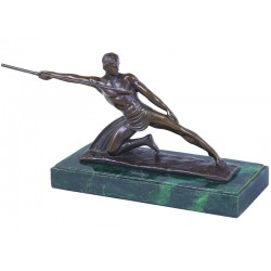 Aruncatorul cu sageata - statueta din bronz pe soclu din marmura