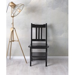 Scaun scara din lemn masiv negru