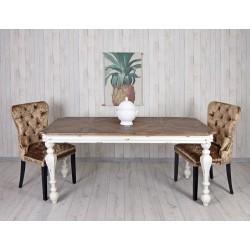 Masa dreptunghiulara din lemn masiv alb cu blat maro