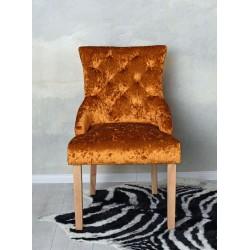 Scaun din lemn masiv natur cu tapiterie din catifea maro deschis