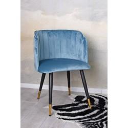 Scaun din lemn masiv negru cu tapiterie din catifea bleu
