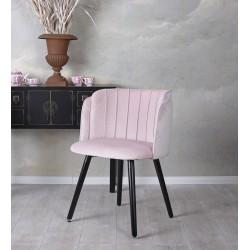 Scaun din lemn masiv negru cu tapiterie din catifea roz