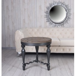 Masa rotunda din lemn masiv negru cu blat din lemn maro
