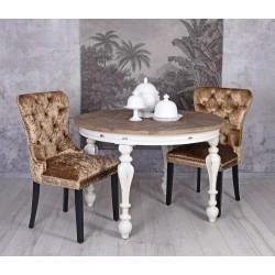 Scaun din lemn masiv natur cu tapiterie din catifea maro inchis