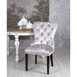 Scaun din lemn masiv negru cu tapiterie din catifea gri deschis