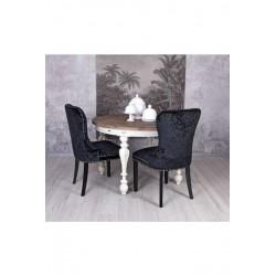 Scaun din lemn masiv negru cu tapiterie din catifea neagra