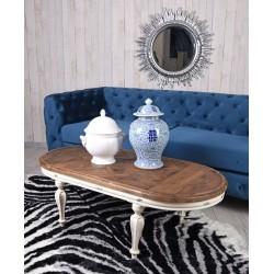 Masa ovala living din lemn masiv alb antichizat cu blat din lemn maro