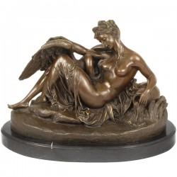 Doamna cu o lebada - statueta din bronz pe soclu din marmura