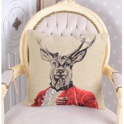 Perna decorativa cu aspect de tapiterie cu un cerb