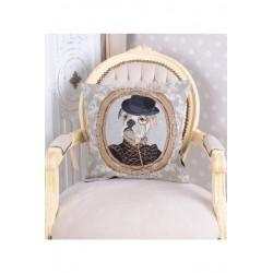 Perna decorativa cu aspect de tapiterie cu un catel