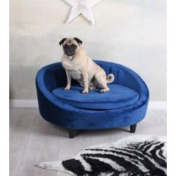 Canapea pentru animale din lemn masiv negru cu tapiterie albastra