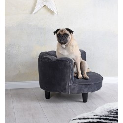 Canapea pentru animale din lemn masiv negru cu tapiterie gri