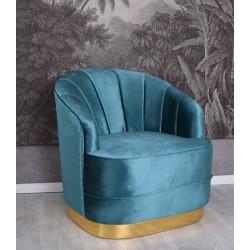 Fotoliu Art Deco din lemn masiv cu tapiterie albastra