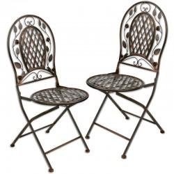 Set doua scaune din fier forjat maro antichizat
