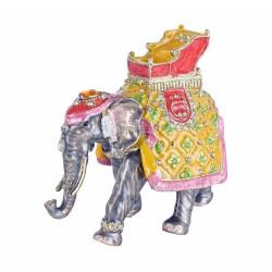 Caseta de bijuterii din metal emailat cu un elefant